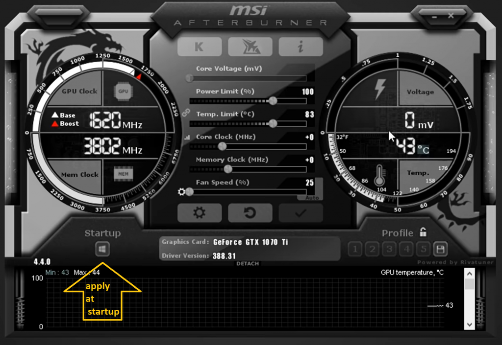 apply setting at windows startup for msi afterburner