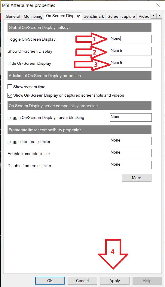 MSI afterburner properties on screen dispaly tag