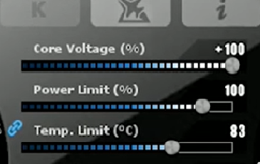 maxing the core voltage in msi afterburner.