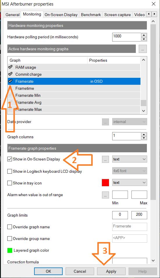 MSI afterburner properties monitoring tab