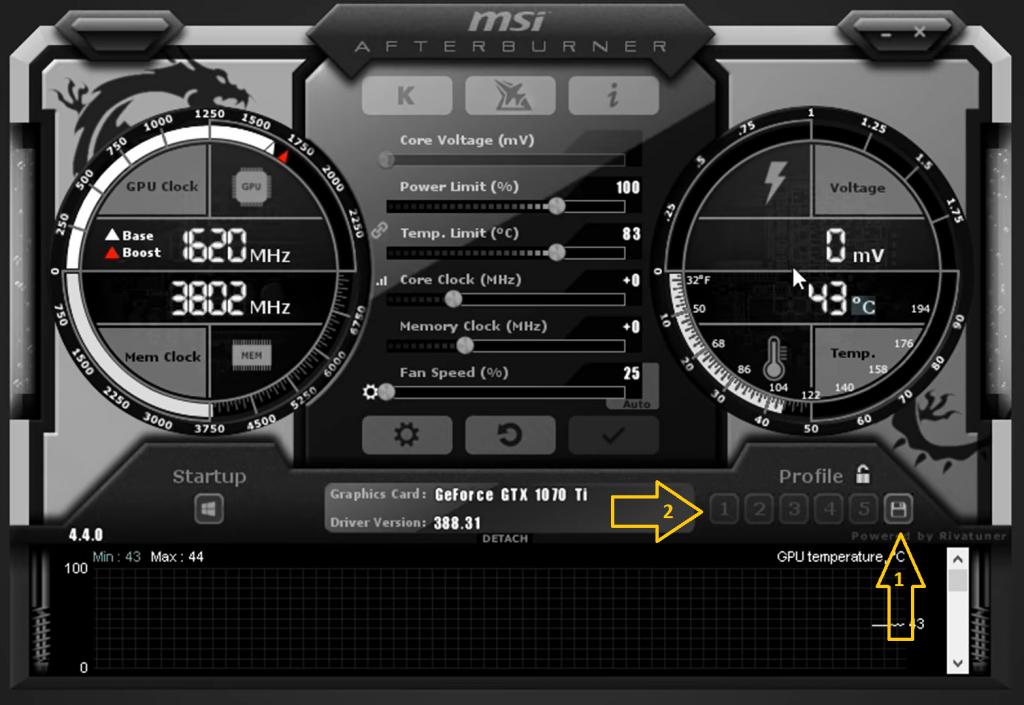 saving the setting in msi afterburner image