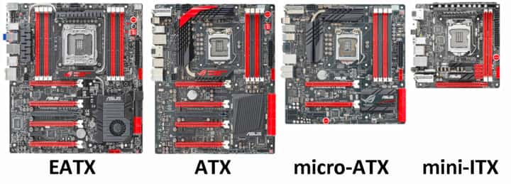 Different motherboard sizes