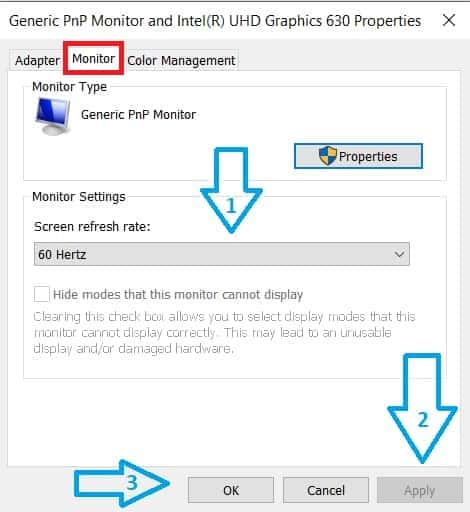 step 4 of How to Change Monitor Refresh Rate in Windows 10